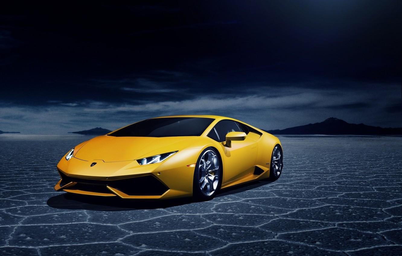 Photo wallpaper desert, Lamborghini, yellow, LP 610-4, Huracan, LB724