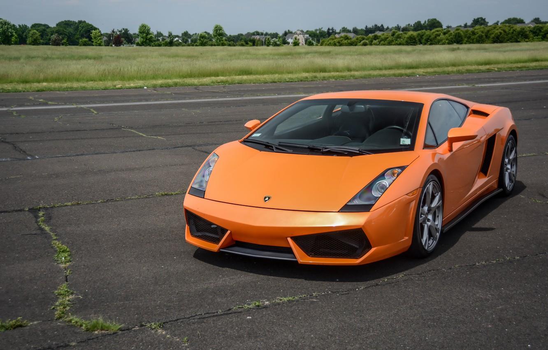 Photo wallpaper Lamborghini, Gallardo, orange, track