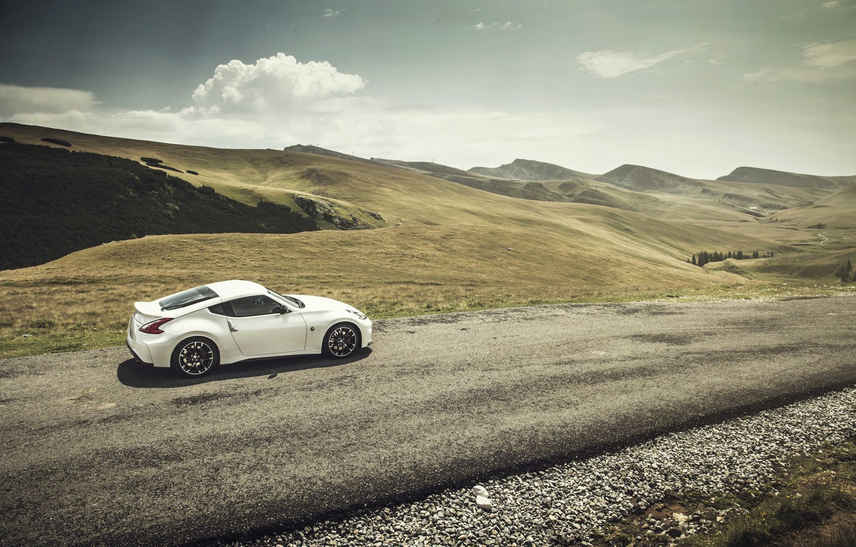 Photo wallpaper road, clouds, hill, Nissan, solar, 370Z