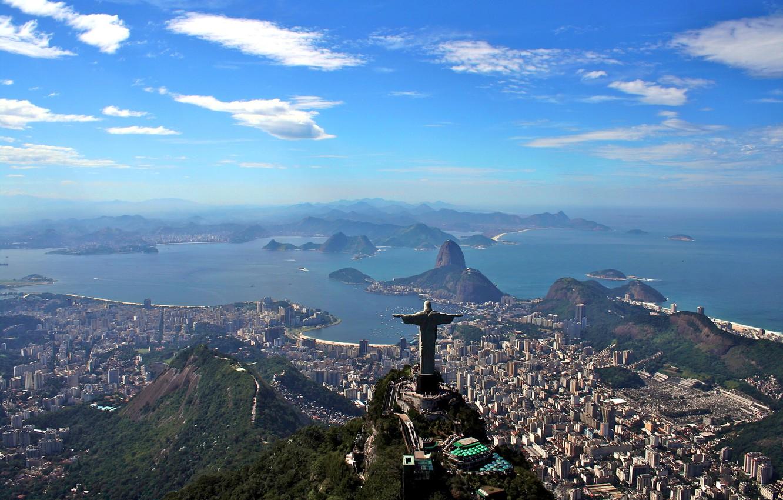 Photo wallpaper landscape, mountains, the ocean, coast, panorama, Bay, Brazil, megapolis, Rio de Janeiro, Rio de Janeiro, …
