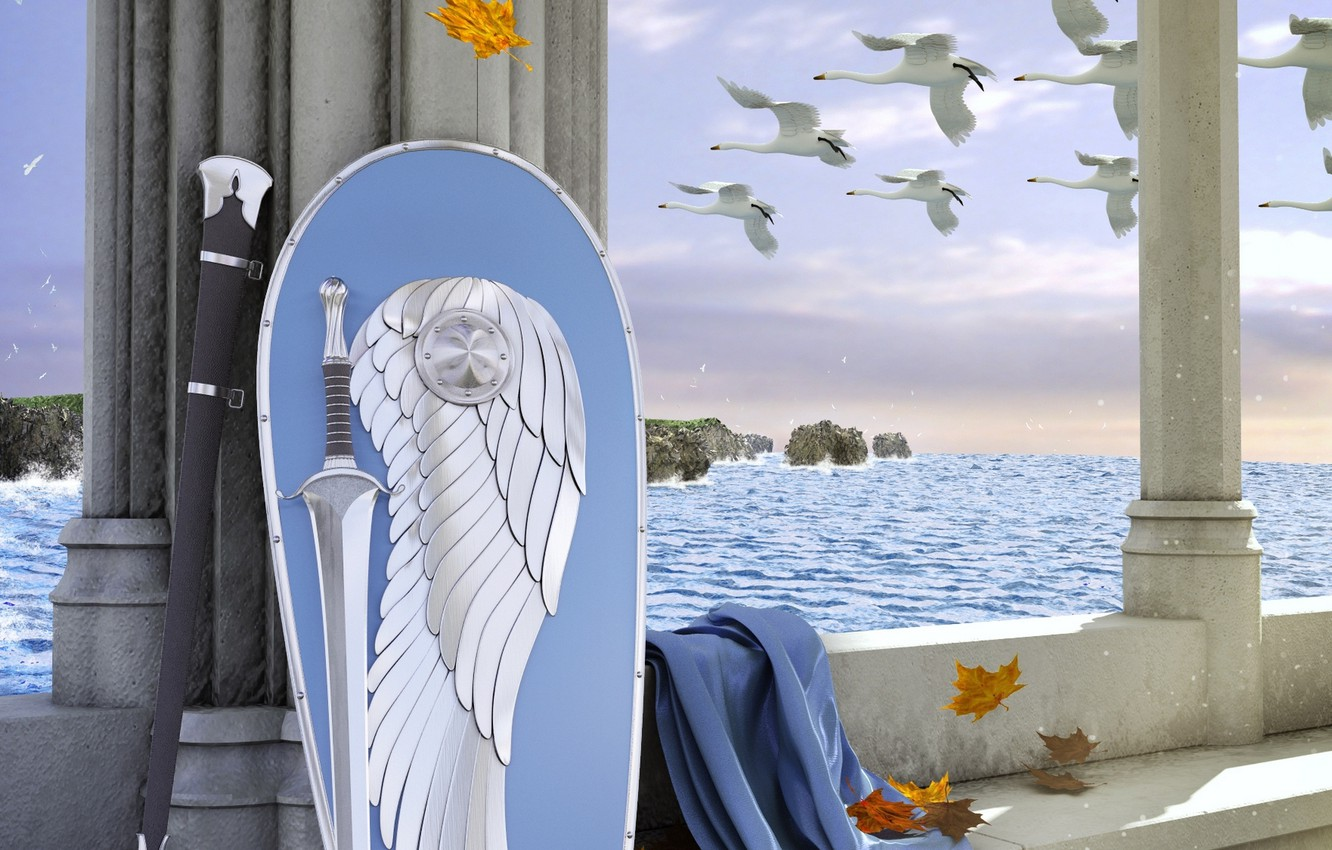 Photo wallpaper sword, belt, sword, The Lord Of The Rings, shield, cloak, swans, The Lord of the …