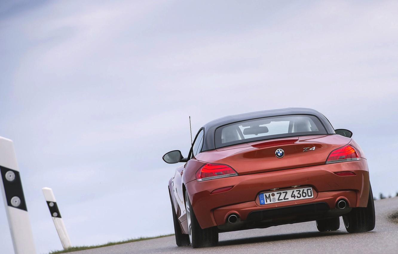 Photo wallpaper Roadster, Auto, Road, BMW, Boomer, Asphalt, BMW, Orange, Rear view, In Motion