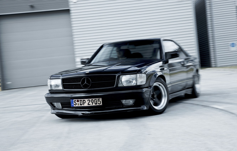 Photo wallpaper Mercedes, black, benz, coupe, с126