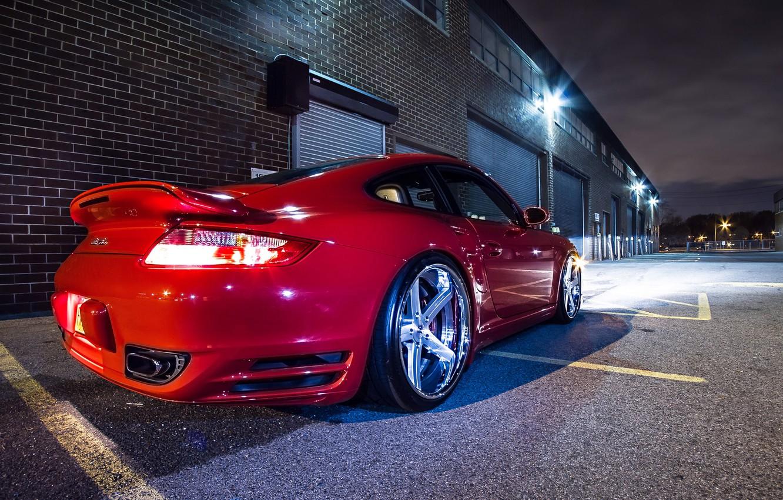 Photo wallpaper 911, Porsche, Red, Glow, Lights, Night, Turbo, Tuning, Wheels, Garage, Rims