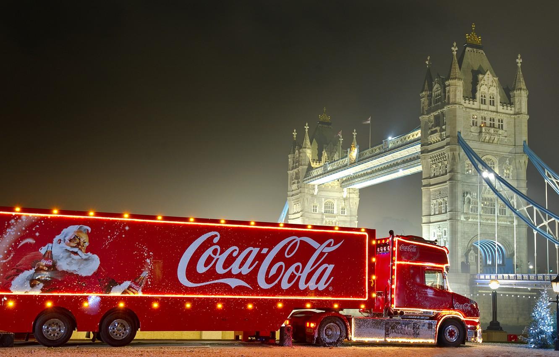 Photo wallpaper new year, Christmas, coca cola, Coca Cola, Christmas truck, christmas truck, advertising coca cola, Santa …