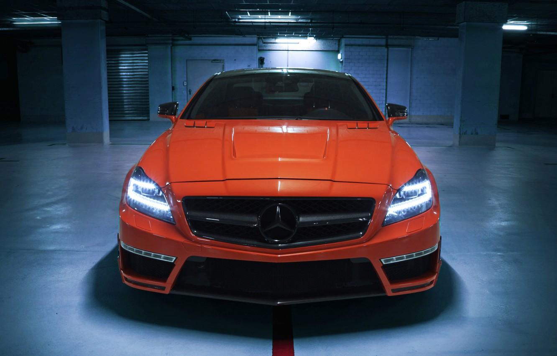 Photo wallpaper car, auto, Wallpaper, Mercedes-Benz, AMG, tuning, front, orange, CLS 63, German Special Customs, GSC
