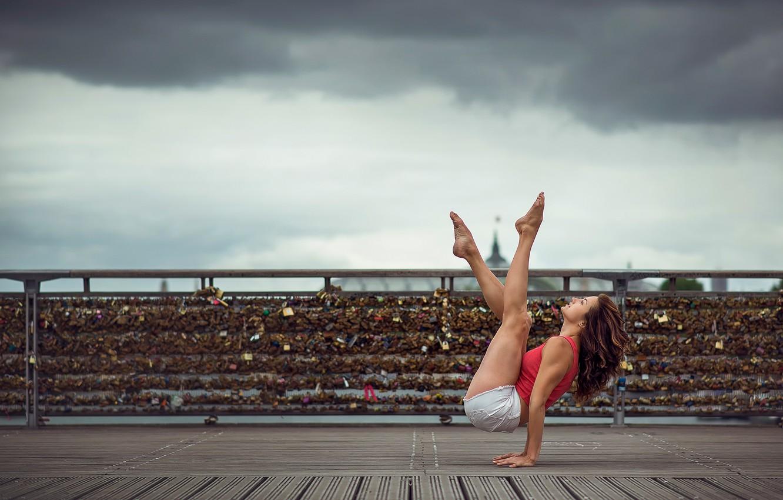Photo wallpaper girl, shorts, dance, grace, legs, Emilie Caillon