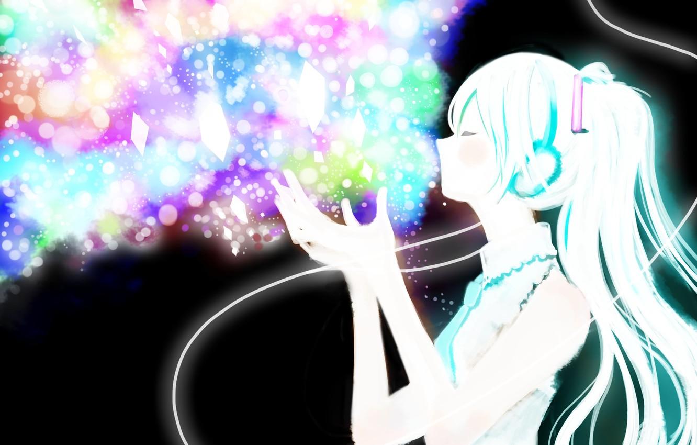 Photo wallpaper girl, headphones, art, wire, crystals, vocaloid, hatsune miku, Vocaloid