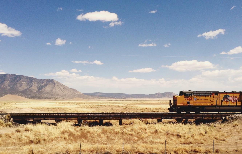 Photo wallpaper summer, sky, field, clouds, hills, train, railway, sunny