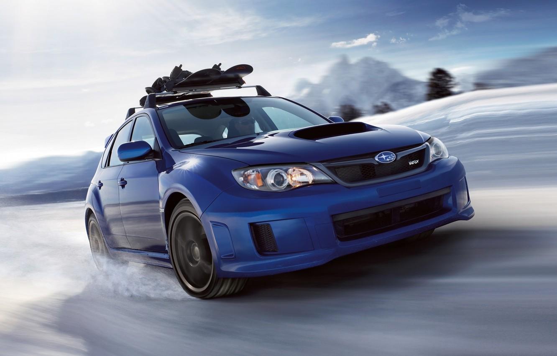 Photo wallpaper the sky, snow, blue, Subaru, Impreza, WRX, STI, Subaru, Impreza, the front