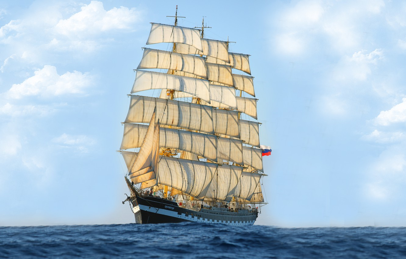 Photo wallpaper Ship, Mast, Nose, Sails, Tank, Sailing Ship, Kruzenshtern, Bark