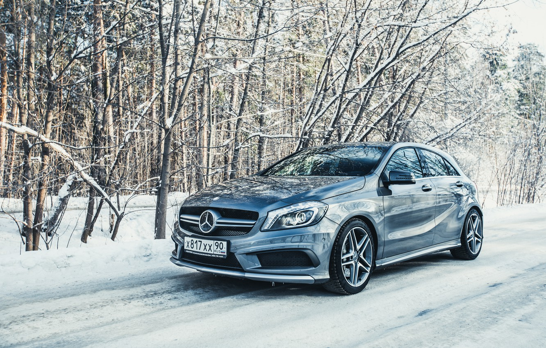 Photo wallpaper Winter, Auto, Snow, Mercedes, Benz, AMG, A45