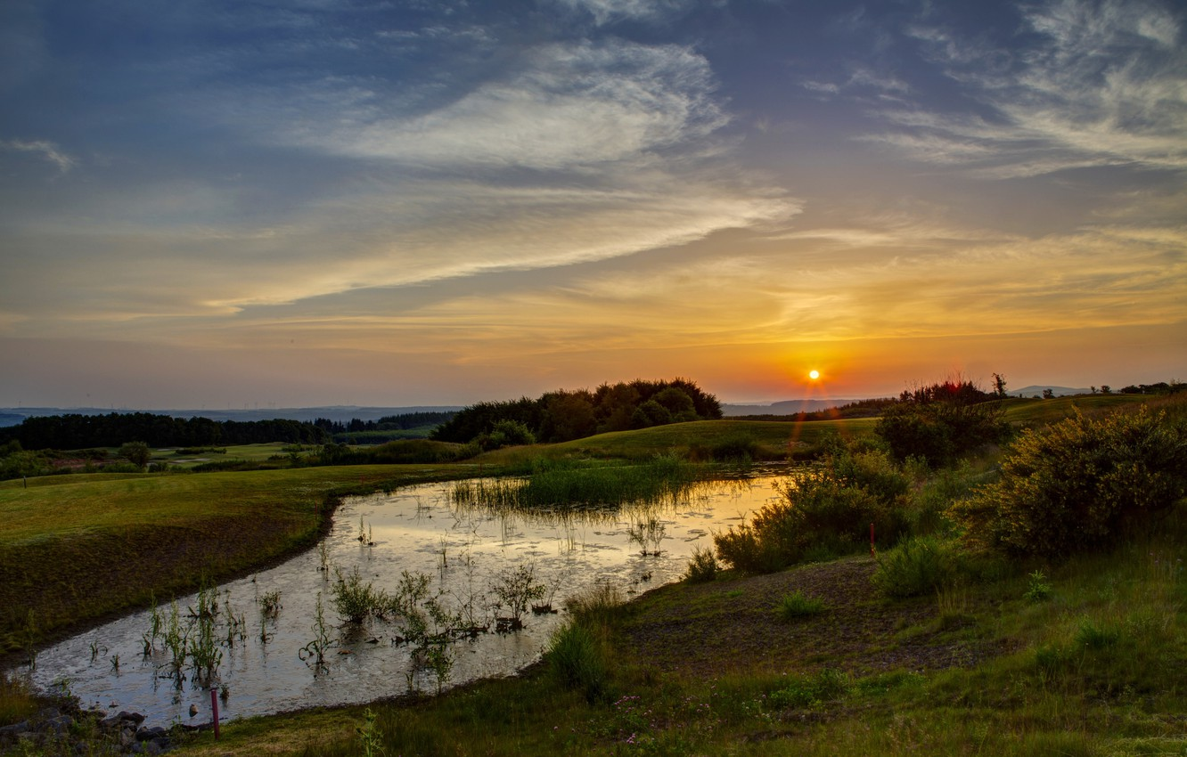 Photo wallpaper Sunset, The sun, The sky, Water, Nature, Grass, Trees, Rays