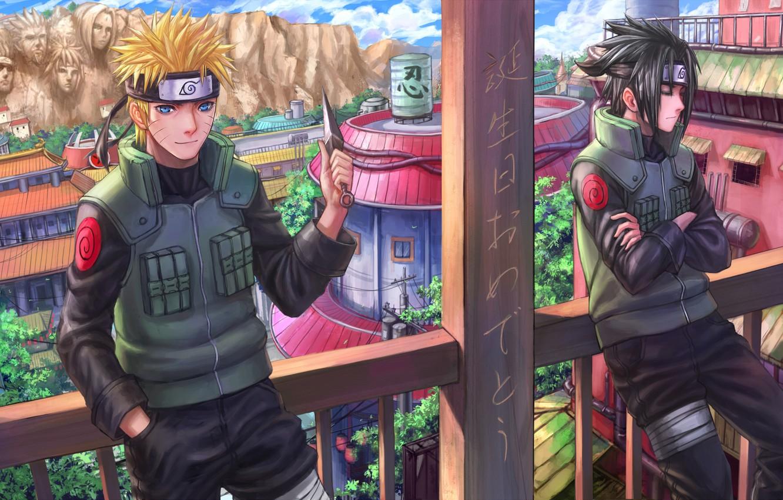 Photo wallpaper the city, rock, art, face, knife, characters, railings, balcony, guys, uchiha sasuke, Uzumaki naruto, naruto …