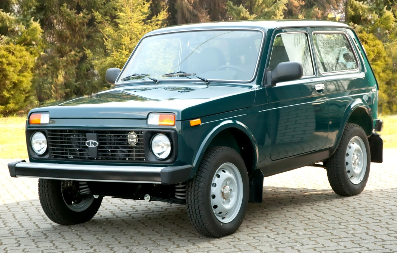 Photo wallpaper forest, jeep, SUV, green, Lada, the front, Lada, 4x4, Niva, Export Edition