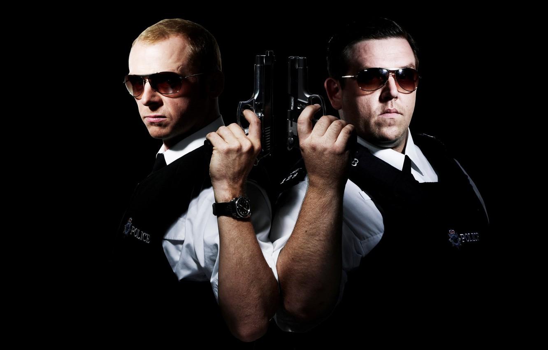 Wallpaper Weapons Gun Black Background Police Simon Pegg