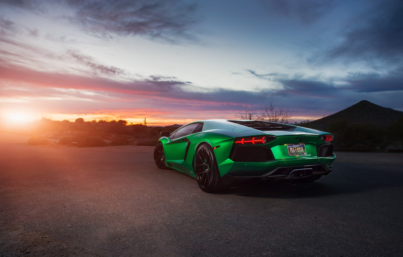 Photo wallpaper green, supercar, Lamborghini Aventador