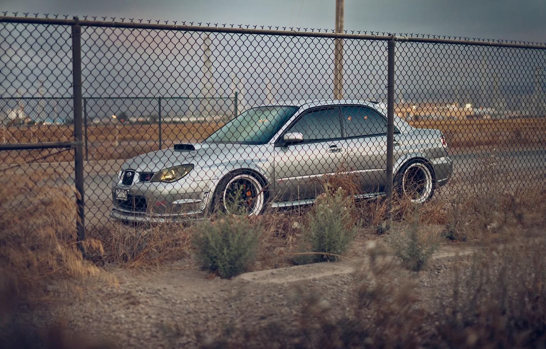 Photo wallpaper mesh, the fence, subaru, impreza, Subaru, sti, Impreza
