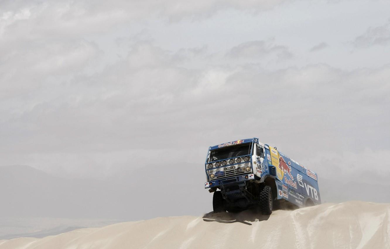 Photo wallpaper The sky, Blue, Red Bull, KAMAZ, KAMAZ, Dakar, Dakar, Dune