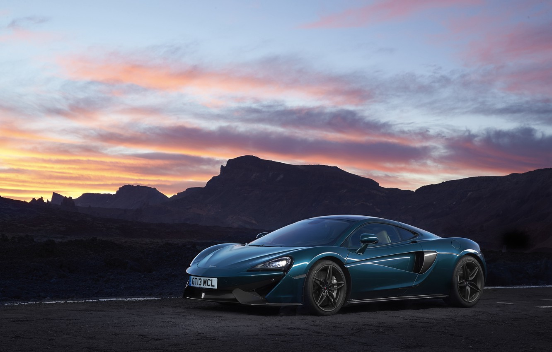 Photo wallpaper road, auto, the sky, dawn, McLaren, supercar, McLaren, 570GT