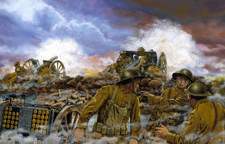 Photo wallpaper war, the British, September 26, 1918, Western Front, France -- September 26, Truman\'s Battery, 1918..At …