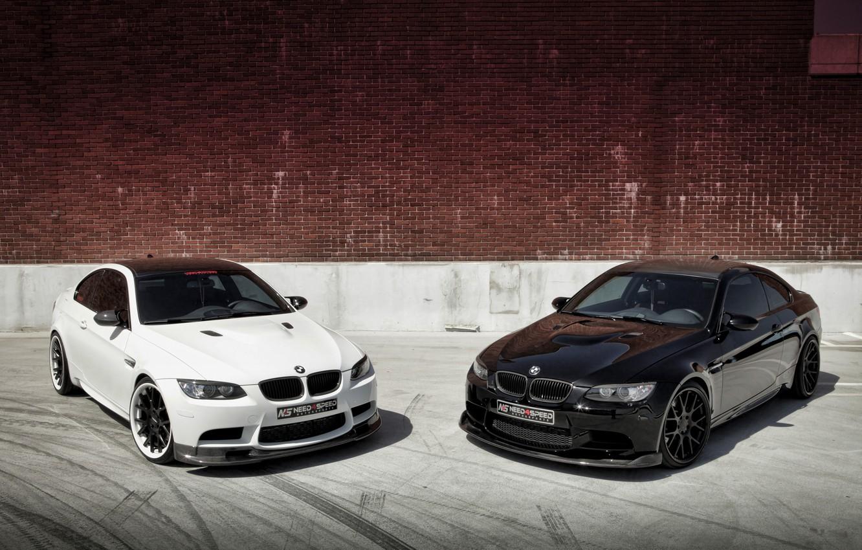 Photo wallpaper white, black, bmw, BMW, wall, white, black, brick wall, e92