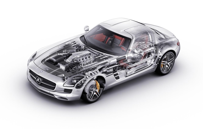 Photo wallpaper Mercedes, Benz, sls, inside