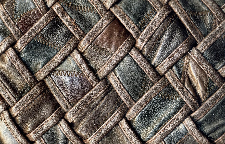 Photo wallpaper texture, leather, black, thread, brown, braided