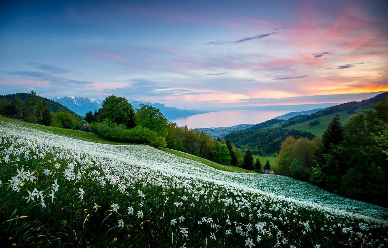 Photo wallpaper landscape, sunset, mountains