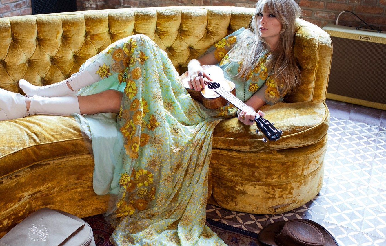 Photo wallpaper pose, wall, model, guitar, brick, hat, dress, hairstyle, photographer, floor, lies, singer, Taylor Swift, boots, …