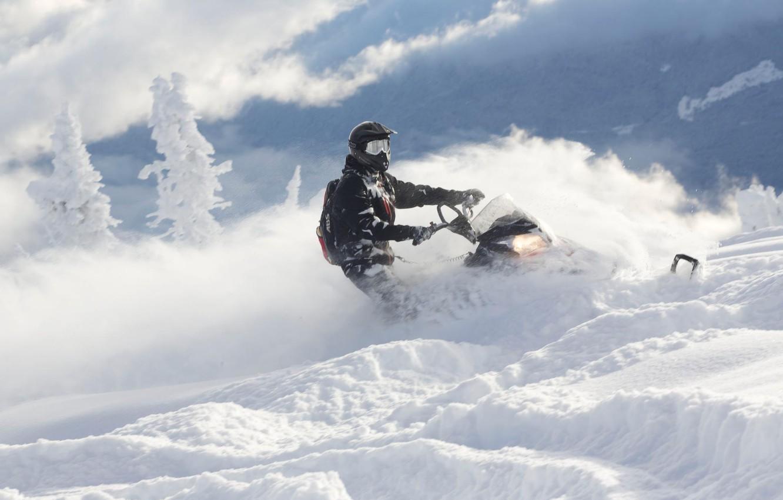 Photo wallpaper frost, Snow, tree, Snow, snowmobile, Polaris, snowmobile,