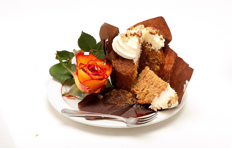 Photo wallpaper sweet, rose, cream, plate, cupcake
