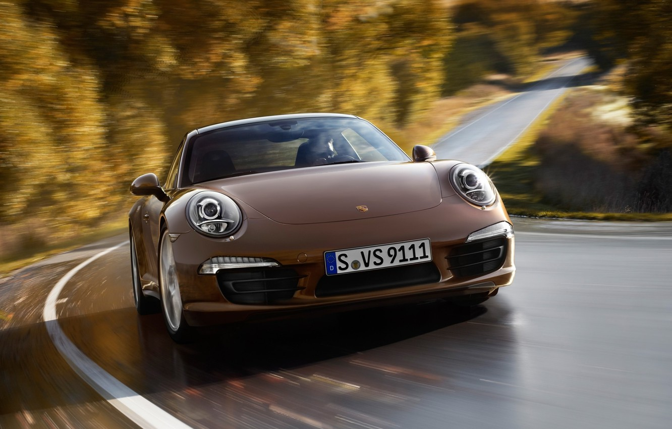 Photo wallpaper road, trees, coupe, 911, Porsche, supercar, brown, coupe, the front, carerra, carrera 4, Please