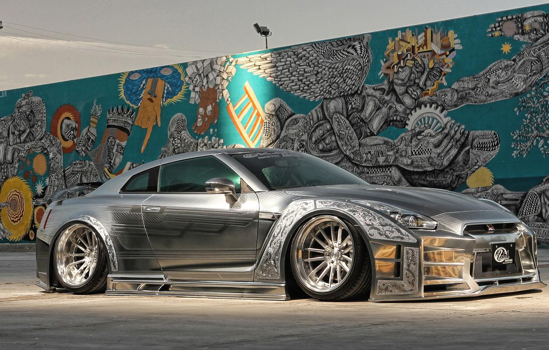 Photo wallpaper GTR, Nissan, luxury, Silver, kuhl racing