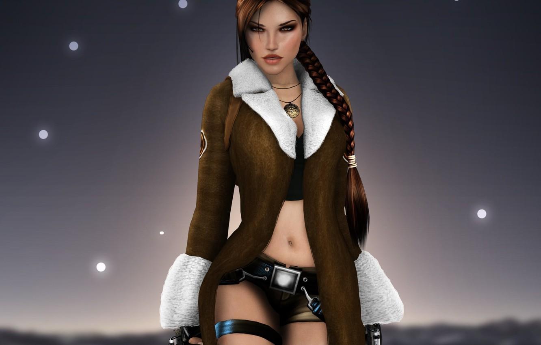 Photo wallpaper look, girl, face, hair, guns, the game, medallion, lara croft, tomb raider, coat, pigtail, Lara …