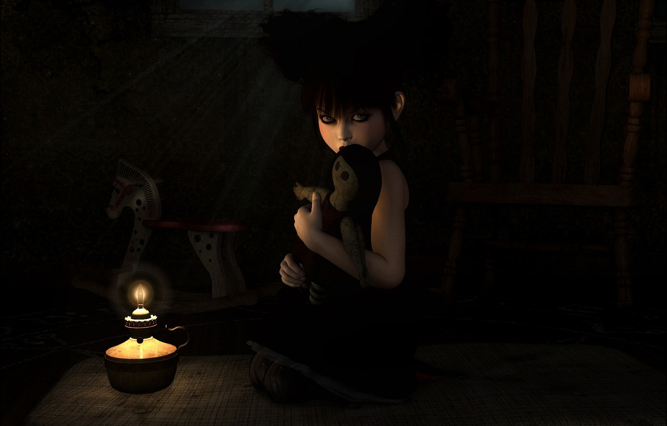 Photo wallpaper loneliness, fire, toy, dark, lamp, candle, art, girl