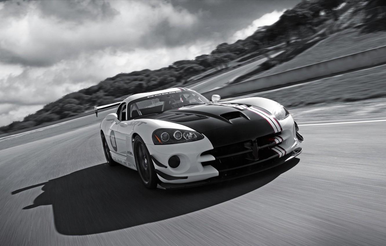 Photo wallpaper road, clouds, black and white, Dodge, Viper, srt10