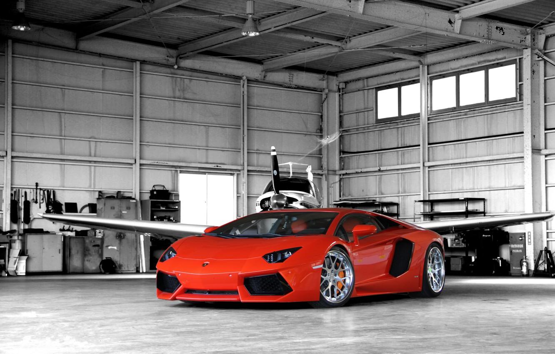 Photo wallpaper orange, hangar, the plane, lamborghini, front view, orange, aventador, lp700-4, Lamborghini, aventador