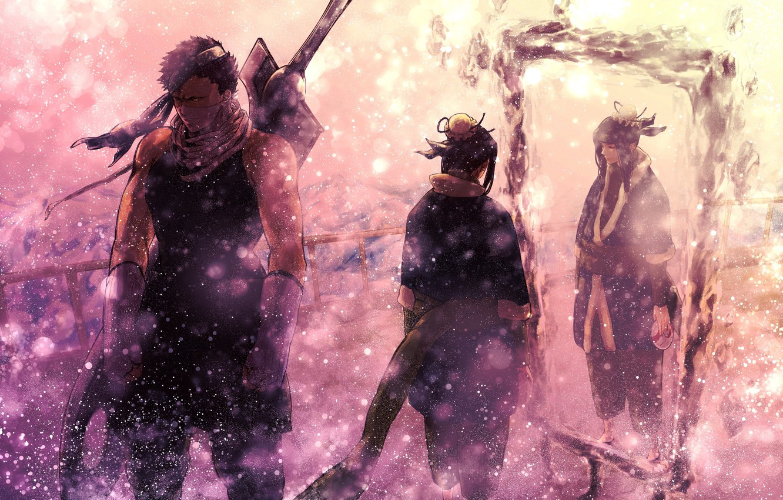 Photo wallpaper winter, snow, weapons, sword, mirror, naruto, heroes, Naruto, flying, Mirror silence