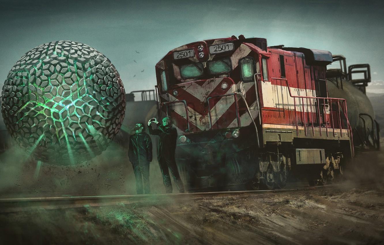 Photo wallpaper ball, train, art, locomotive, sphere, Nick Foreman