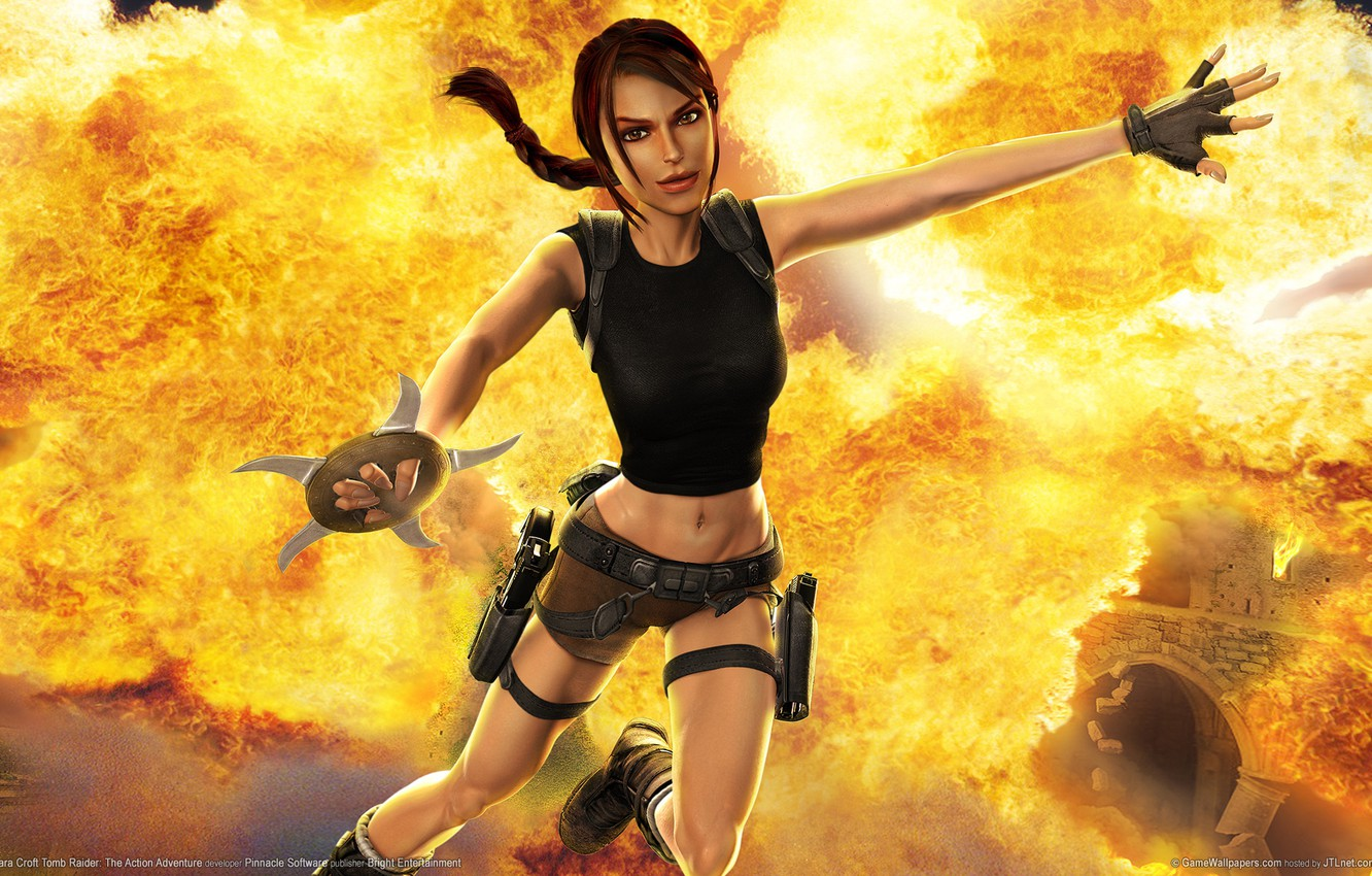 Photo wallpaper the explosion, weapons, fire, flame, destruction, adventure, the, action, lara, tombs, the raider, Croft, croft, …