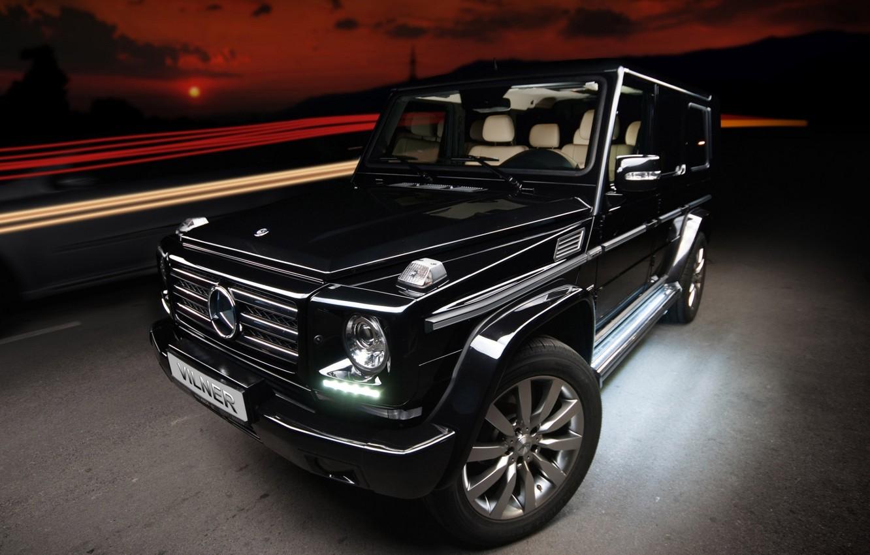 Photo wallpaper black, tuning, Mercedes-Benz, jeep, SUV, Mercedes, tuning, the front, g, G-Class, vilner studio, Gelandewagen, g-class