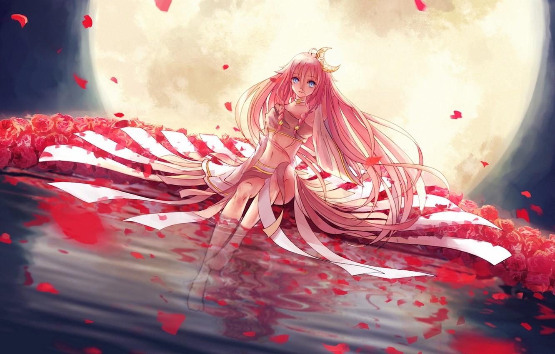 Photo wallpaper water, girl, flowers, night, reflection, the moon, roses, a month, petals, art, vocaloid, l-kun