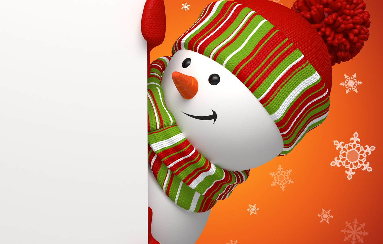 Photo wallpaper winter, snow, holiday, new year, snowman, fabulously