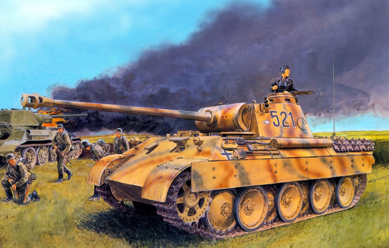 Photo wallpaper field, fire, flame, smoke, art, Panther, soldiers, tank, German, Panther, Panzerkampfwagen, burning, German, T-34-76, The …