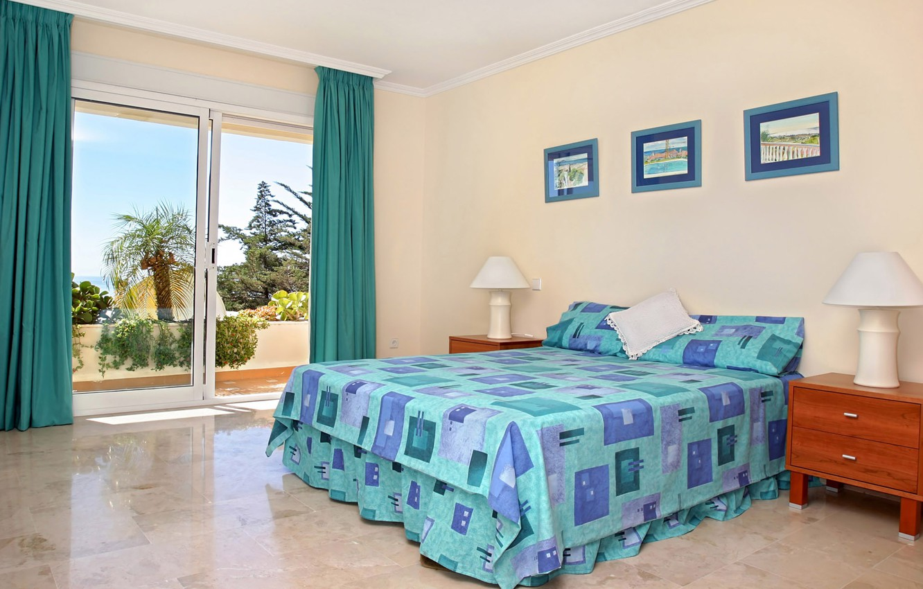 Photo wallpaper design, lamp, interior, window, pictures, curtains, pillow, balcony, bedroom, stand, view, blue linen