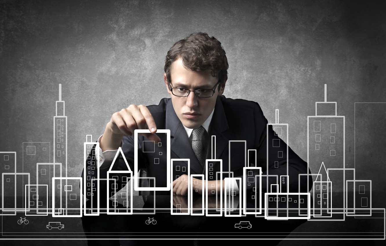 Photo wallpaper the city, creative, glasses, layout, dark brown, care