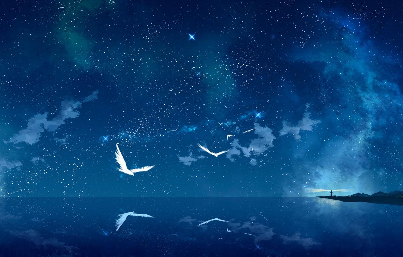 Photo wallpaper sea, stars, birds, night, lighthouse, art, starry sky, tokumu kyuu