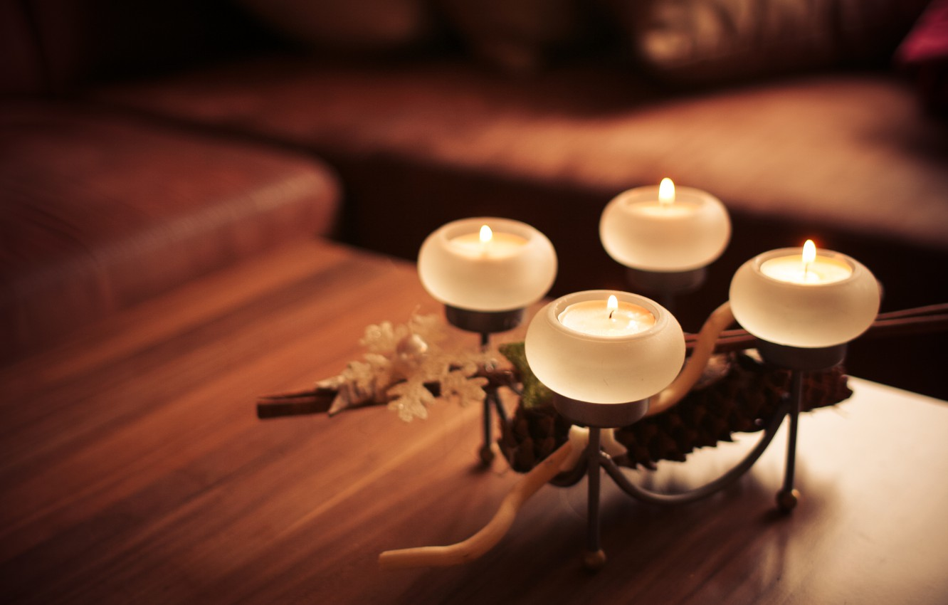 Photo wallpaper comfort, fire, candles, candle