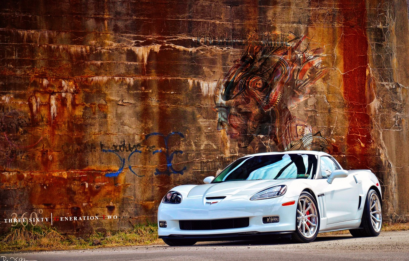 Photo wallpaper white, wall, graffiti, Chevrolet, drives, By 360 Forged Willam Stern, 360 Forged GT V Spoke, …